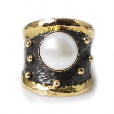 Empire Gold Pearl Ring By Birdie