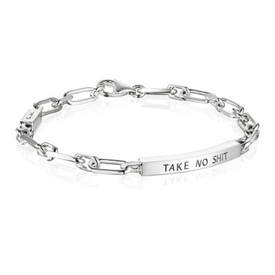 Thin Silver Bracelet - Take No Shit